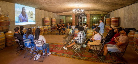 Students and protégés attending presentations and inspirations talks about winemaking as a career in South Africa.